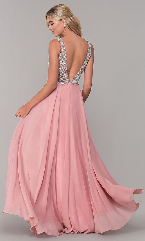 Image of long beaded-bodice Dave and Johnny prom dress. Style: DJ-A7159 Back Image