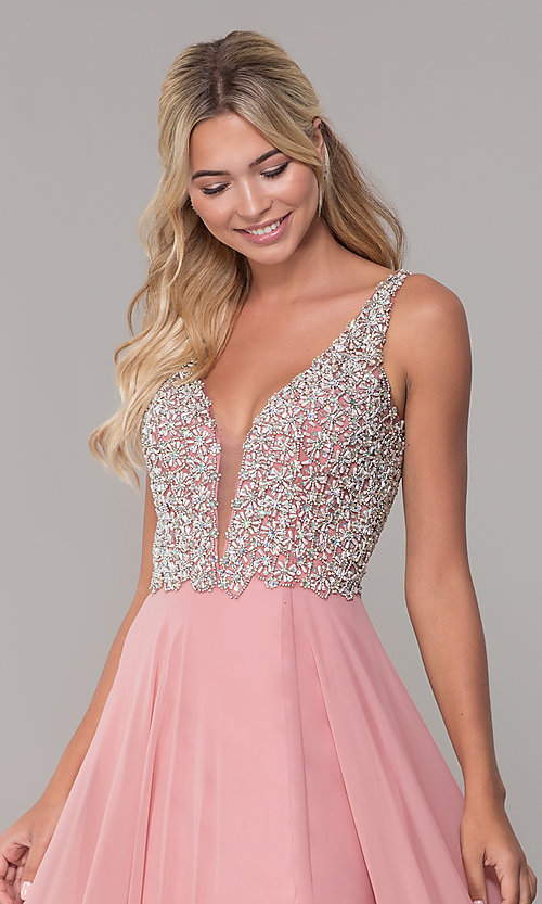 Image of long beaded-bodice Dave and Johnny prom dress. Style: DJ-A7159 Detail Image 1
