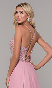 Image of Dave and Johnny long mauve prom dress with beads. Style: DJ-A7639 Detail Image 2