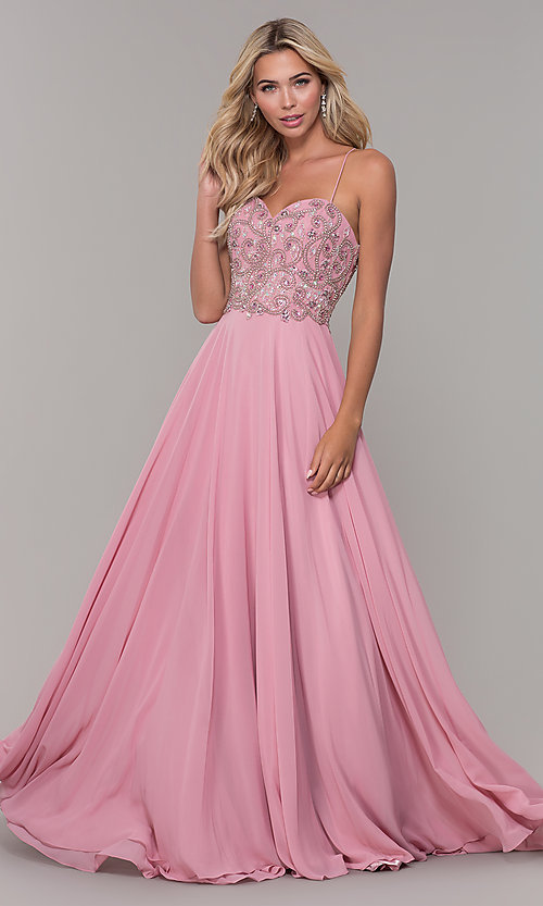 Image of Dave and Johnny long mauve prom dress with beads. Style: DJ-A7639 Front Image