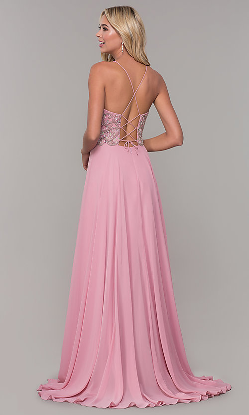 Image of Dave and Johnny long mauve prom dress with beads. Style: DJ-A7639 Back Image
