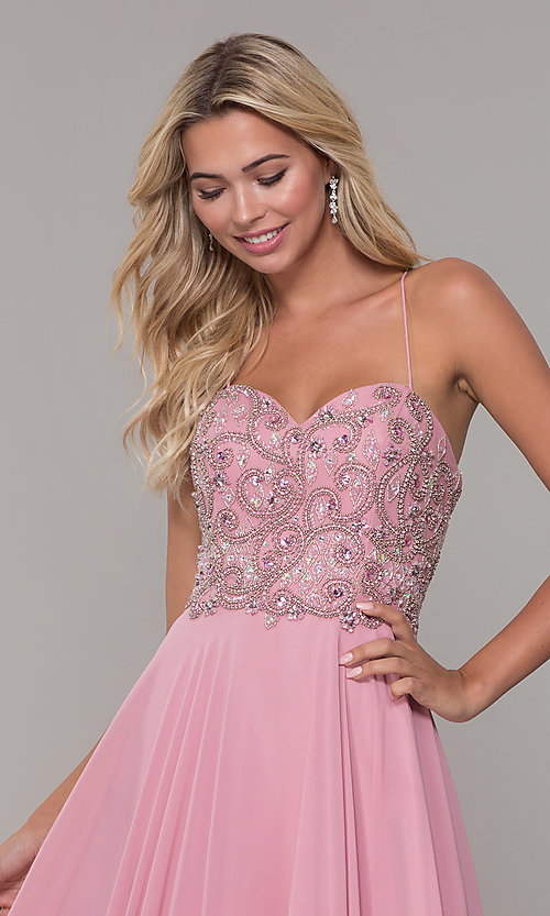 Image of Dave and Johnny long mauve prom dress with beads. Style: DJ-A7639 Detail Image 1