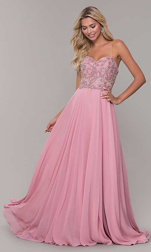 Image of Dave and Johnny long mauve prom dress with beads. Style: DJ-A7639 Detail Image 3