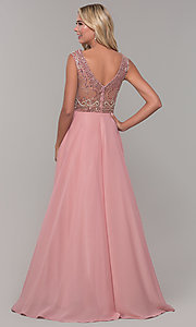 Image of Dave and Johnny long prom dress with beads. Style: DJ-A1363 Back Image