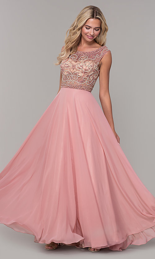 Image of Dave and Johnny long prom dress with beads. Style: DJ-A1363 Front Image