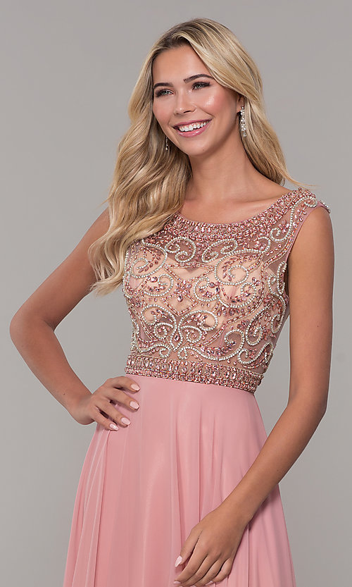 Image of Dave and Johnny long prom dress with beads. Style: DJ-A1363 Detail Image 1