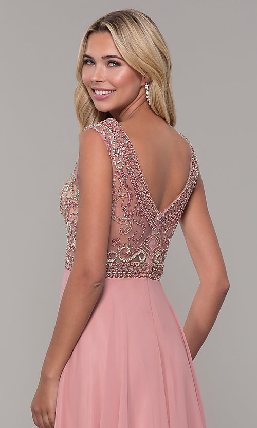 Image of Dave and Johnny long prom dress with beads. Style: DJ-A1363 Detail Image 2