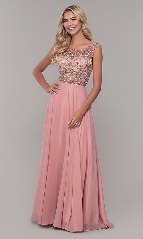 Image of Dave and Johnny long prom dress with beads. Style: DJ-A1363 Detail Image 3