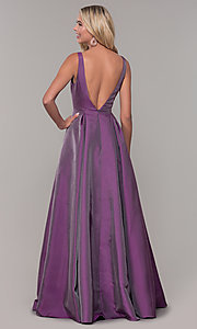 Image of long v-neck purple formal dress with pockets. Style: DJ-A7325 Back Image