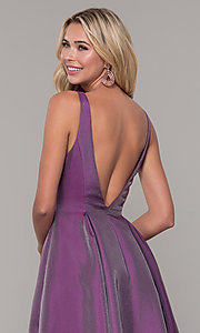 Image of long v-neck purple formal dress with pockets. Style: DJ-A7325 Detail Image 2