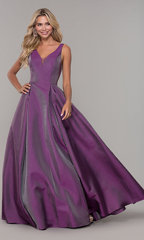 Image of long v-neck purple formal dress with pockets. Style: DJ-A7325 Front Image