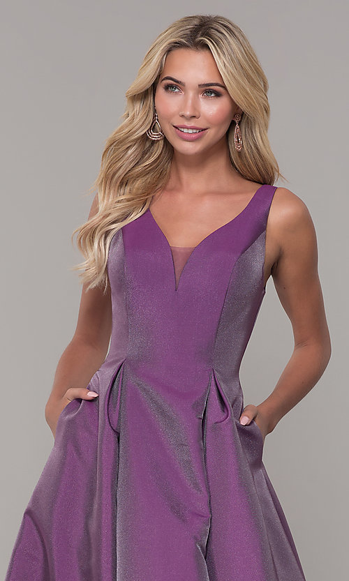 Image of long v-neck purple formal dress with pockets. Style: DJ-A7325 Detail Image 1
