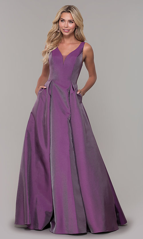 Image of long v-neck purple formal dress with pockets. Style: DJ-A7325 Detail Image 3
