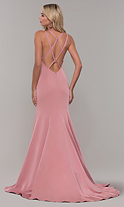 Image of Dave and Johnny mauve pink prom dress with open back. Style: DJ-A7090 Back Image
