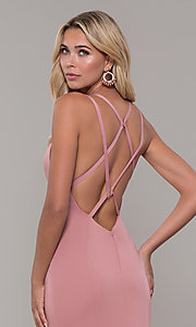 Image of Dave and Johnny mauve pink prom dress with open back. Style: DJ-A7090 Detail Image 2
