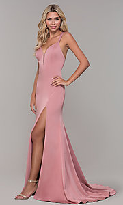 Image of Dave and Johnny mauve pink prom dress with open back. Style: DJ-A7090 Detail Image 3