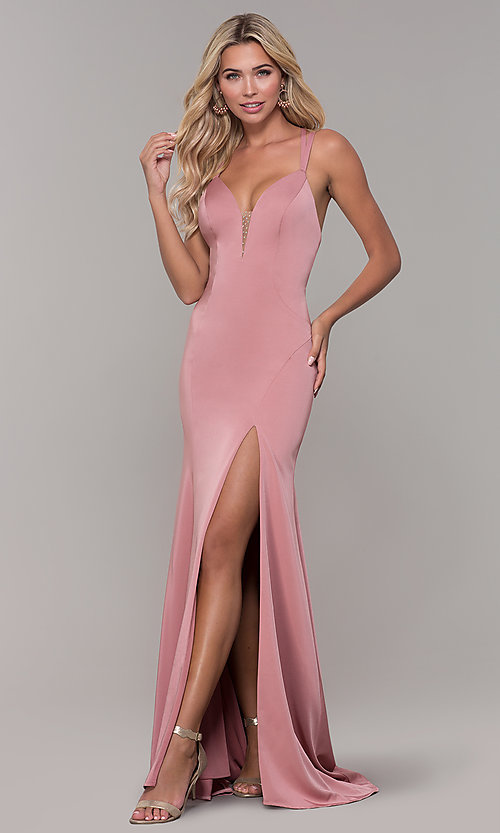 Image of Dave and Johnny mauve pink prom dress with open back. Style: DJ-A7090 Front Image
