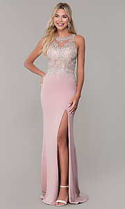 Image of long Dave and Johnny prom dress with embroidery. Style: DJ-A7586 Front Image
