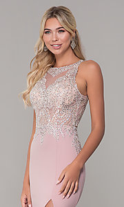 Image of long Dave and Johnny prom dress with embroidery. Style: DJ-A7586 Detail Image 1