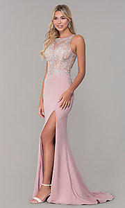 Image of long Dave and Johnny prom dress with embroidery. Style: DJ-A7586 Detail Image 3
