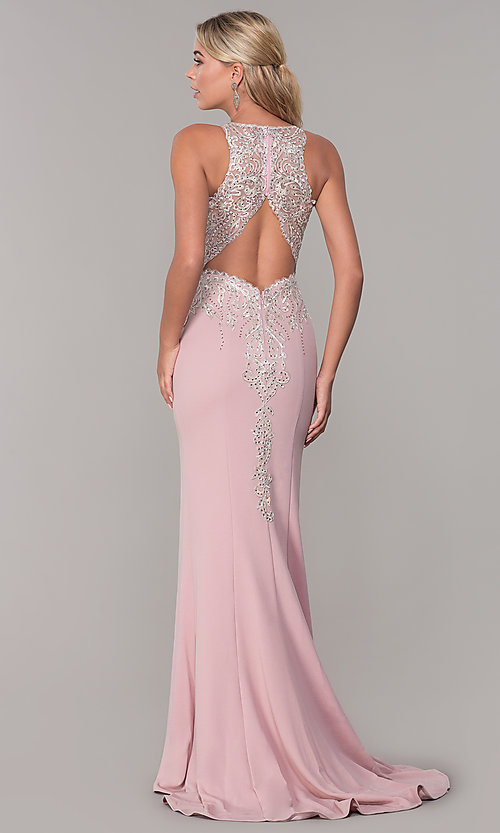 Image of long Dave and Johnny prom dress with embroidery. Style: DJ-A7586 Back Image