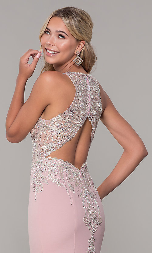 Image of long Dave and Johnny prom dress with embroidery. Style: DJ-A7586 Detail Image 2