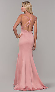 Image of Dave and Johnny backless long mauve pink formal dress. Style: DJ-A7172 Back Image