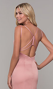 Image of Dave and Johnny backless long mauve pink formal dress. Style: DJ-A7172 Detail Image 2
