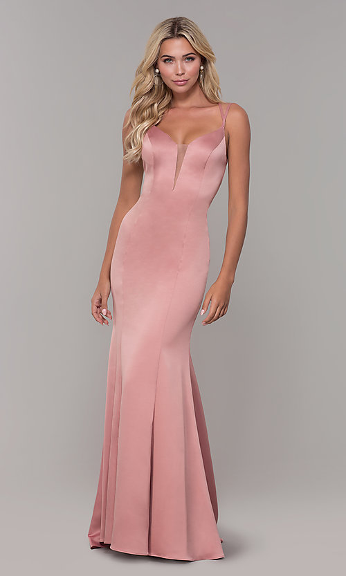 Image of Dave and Johnny backless long mauve pink formal dress. Style: DJ-A7172 Detail Image 3