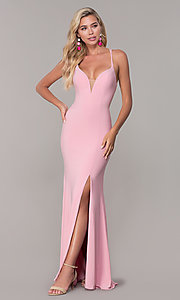 Image of Dave and Johnny caged-open-back long prom dress. Style: DJ-A7256 Detail Image 4