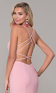 Image of Dave and Johnny caged-open-back long prom dress. Style: DJ-A7256 Detail Image 7