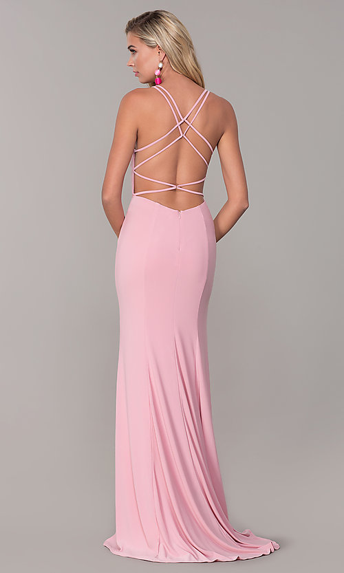 Image of Dave and Johnny caged-open-back long prom dress. Style: DJ-A7256 Detail Image 5