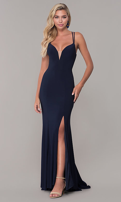 Image of Dave and Johnny caged-open-back long prom dress. Style: DJ-A7256 Front Image
