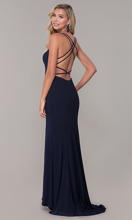 Image of Dave and Johnny caged-open-back long prom dress. Style: DJ-A7256 Back Image