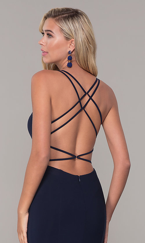 Image of Dave and Johnny caged-open-back long prom dress. Style: DJ-A7256 Detail Image 2