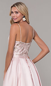 Image of Dave and Johnny long blush pink prom dress. Style: DJ-A7774 Detail Image 2