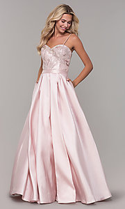 Image of Dave and Johnny long blush pink prom dress. Style: DJ-A7774 Detail Image 3