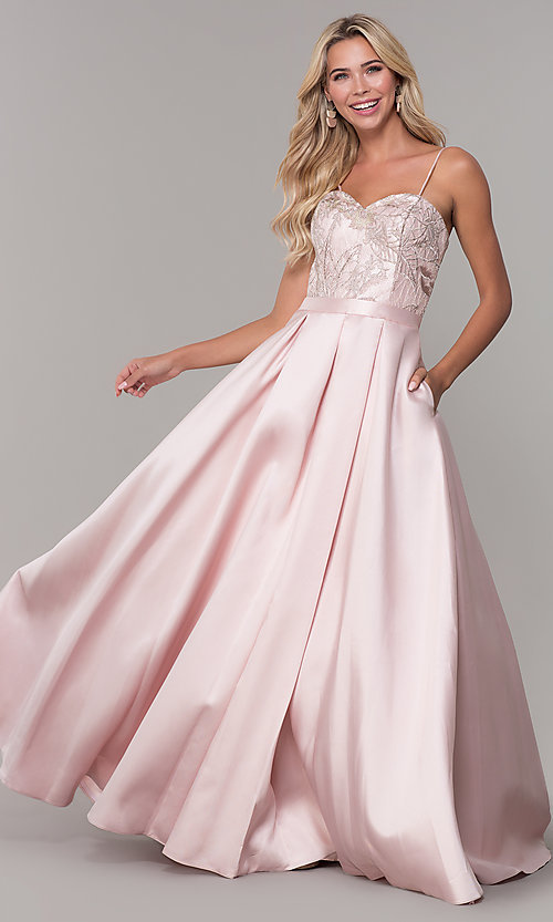 Image of Dave and Johnny long blush pink prom dress. Style: DJ-A7774 Front Image
