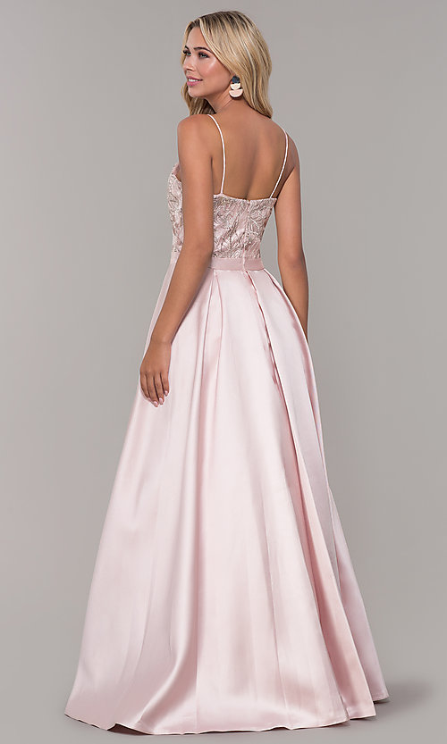Image of Dave and Johnny long blush pink prom dress. Style: DJ-A7774 Back Image
