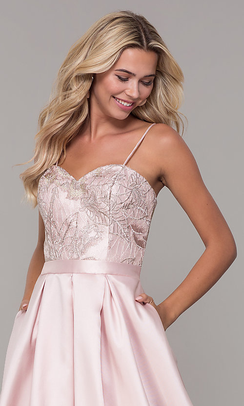 Image of Dave and Johnny long blush pink prom dress. Style: DJ-A7774 Detail Image 1