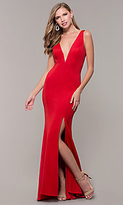 Image of open-back long formal prom dress with deep v-neck. Style: DJ-A7025 Detail Image 8