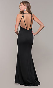 Image of low-v-neck long formal prom dress by Dave and Johnny. Style: DJ-A7157 Detail Image 5