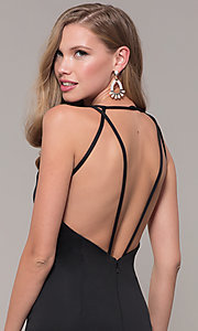 Image of low-v-neck long formal prom dress by Dave and Johnny. Style: DJ-A7157 Detail Image 7
