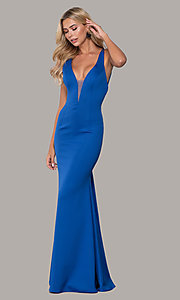 Image of low-v-neck long formal prom dress by Dave and Johnny. Style: DJ-A7157 Front Image