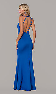 Image of low-v-neck long formal prom dress by Dave and Johnny. Style: DJ-A7157 Back Image
