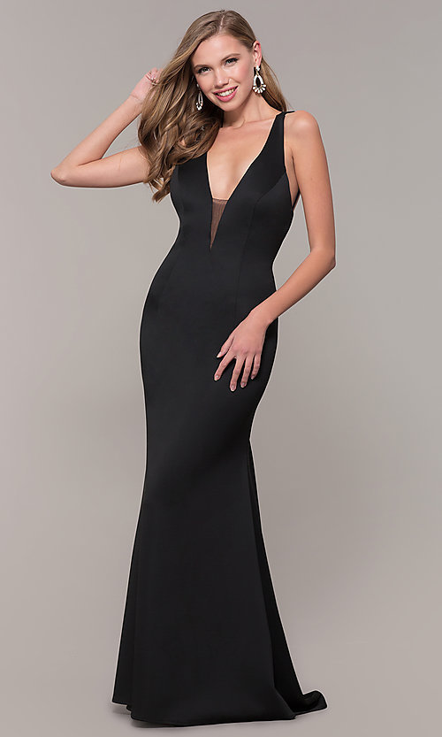 Image of low-v-neck long formal prom dress by Dave and Johnny. Style: DJ-A7157 Detail Image 4
