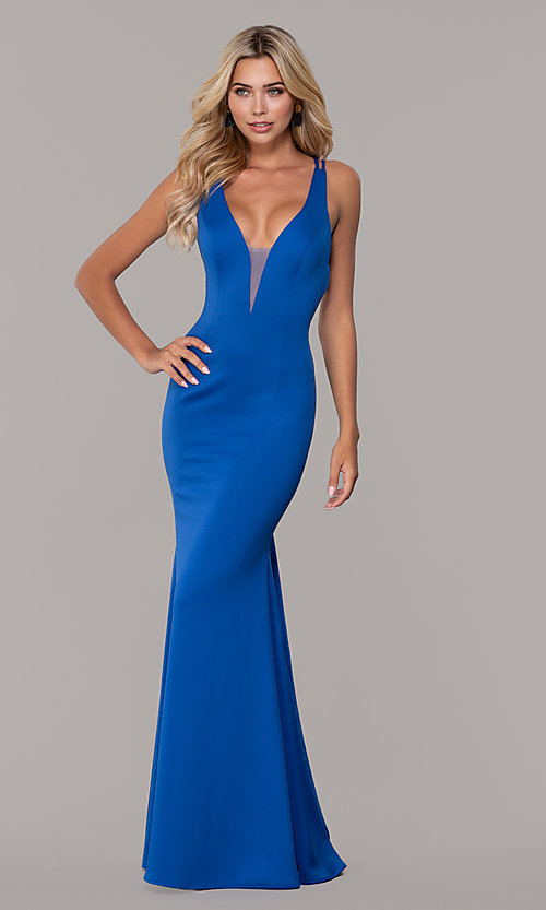 Image of low-v-neck long formal prom dress by Dave and Johnny. Style: DJ-A7157 Detail Image 3