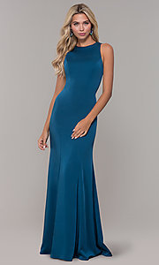 Image of Dave and Johnny long teal blue corset prom dress. Style: DJ-A7231 Back Image