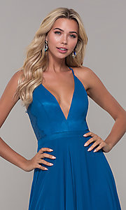 Image of lace-back teal blue long chiffon formal prom dress. Style: DJ-A7102 Detail Image 1