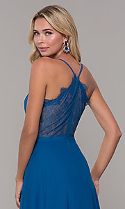 Image of lace-back teal blue long chiffon formal prom dress. Style: DJ-A7102 Detail Image 2